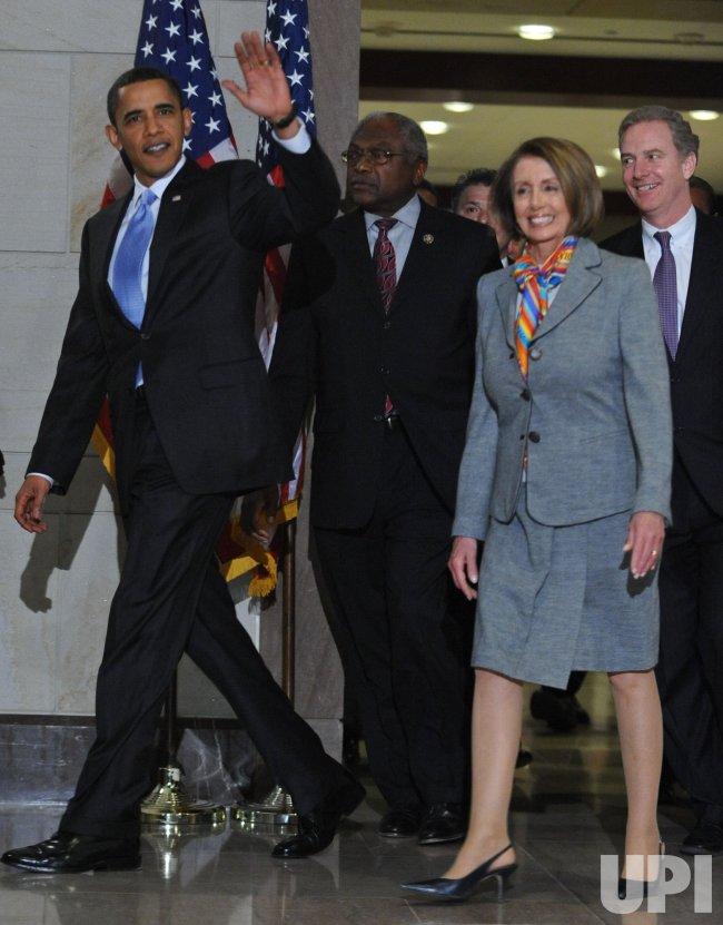 U.S. President Obama speaks to House Democrats on health care vote in Washington