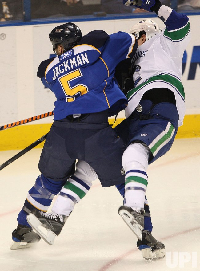 Vancouver Canucks Alexandre Burrows and St. Louis Blues Barret Jackman