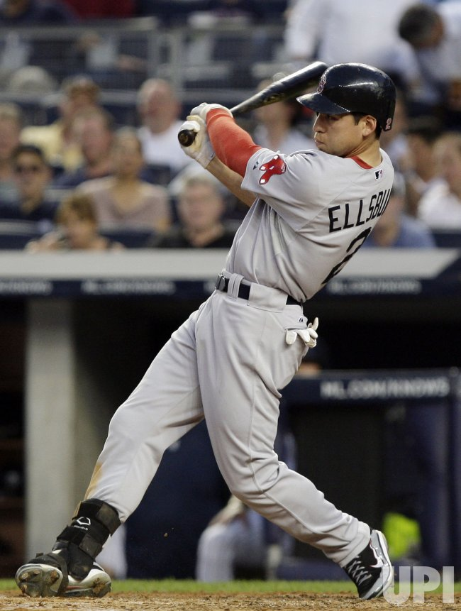 Boston Red Sox Jacoby Ellsbury hits an RBI double at Yankee Stadium in New York