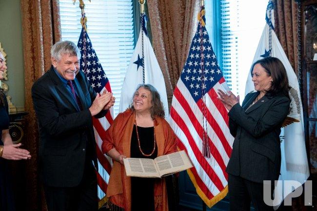U.S. Vice President Kamala Harris swears in Eric Lander in Washington