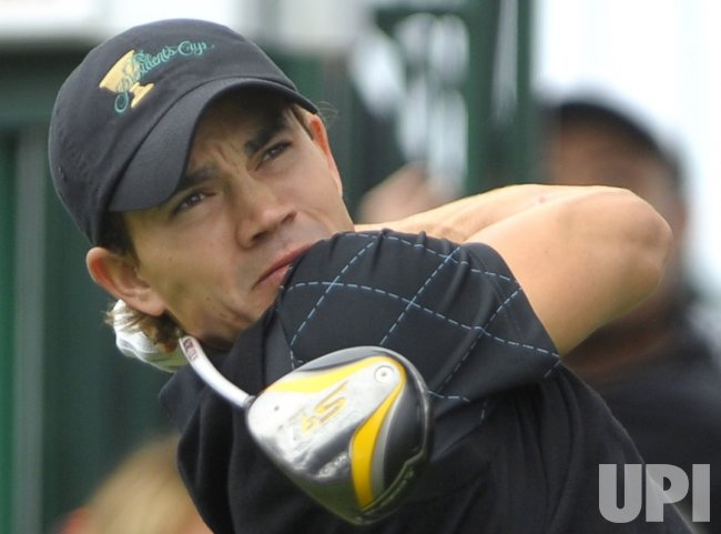 Camilo Villegas watches a drive during the first round of the 2009 Presidents Cup in San Francisco