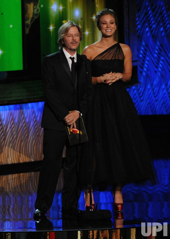 Actors David Spade and Kaley Cuoco present at 63rd Annual Primtime Emmy Awards in Los Angeles