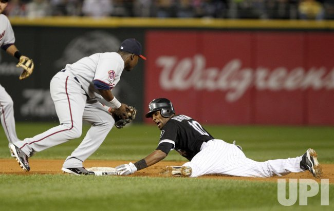 White Sox Ramirez steals second base against Twins in Chicago