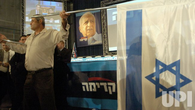 ISRAELIS CELEBRATE THE VICTORY OF THE KADIMA PARTY IN THE GENERAL ELECTION