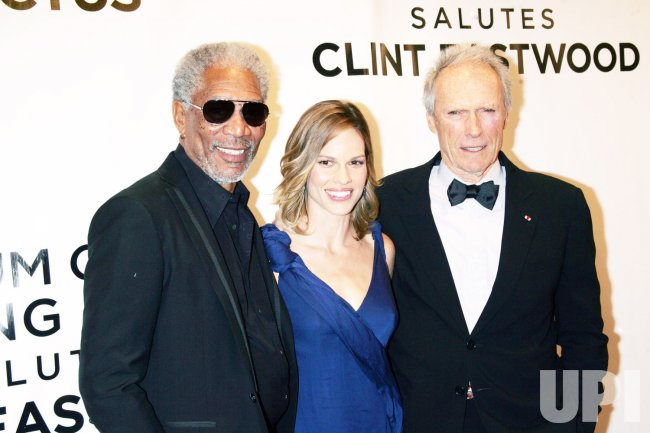 """Morgan Freeman, Hilary Swank and Clint Eastwood arrive for the Museum of the Moving Image Salute to Clint Eastwood and Special Advance Screening of """"Invictus"""" in New York"""