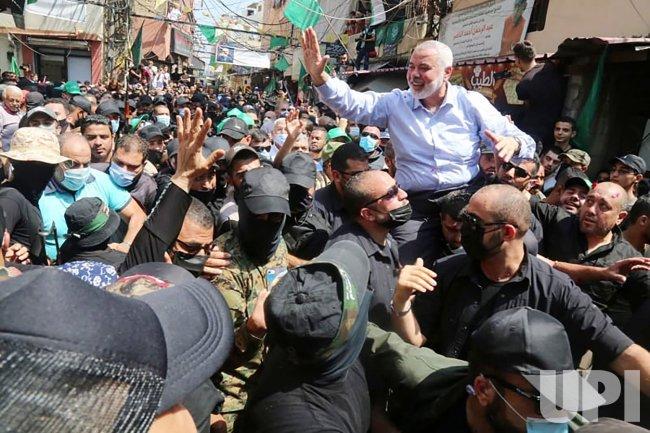 Hamas' Chief Ismail Haniya Greets Palestinians at Refugee Camps in Lebanon
