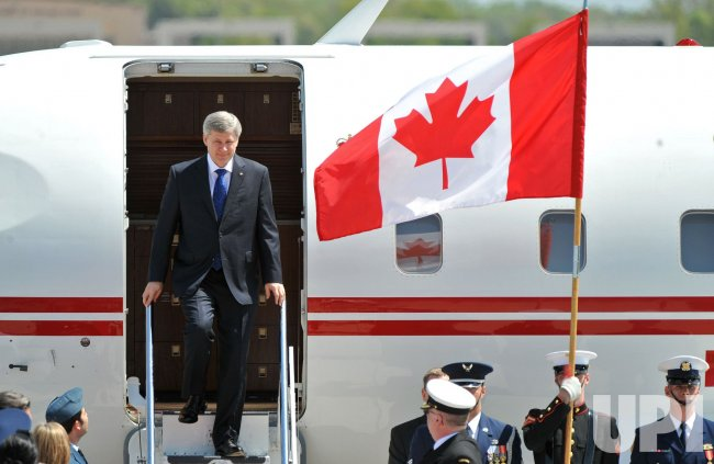 Canadian Prime Minister Stephen Harper arrives for the Nuclear Security Summit at Andrews AFB