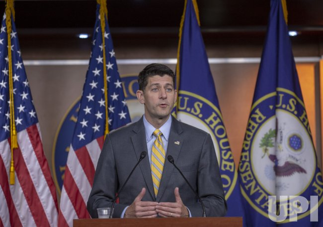 Speaker of the House Paul Ryan at his Weekly Press Confrence on Capital Hill