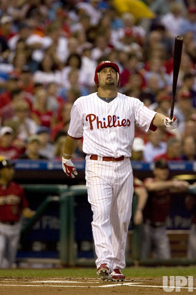 Philadelphia Phillies Shane Victorino watches foul hit