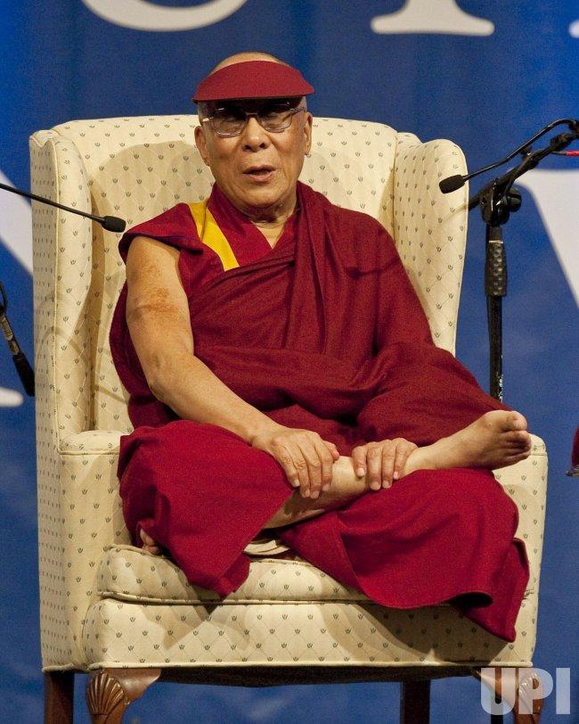 Dalai Lama speaks at NOVA Southeastern University in Davie, Florida