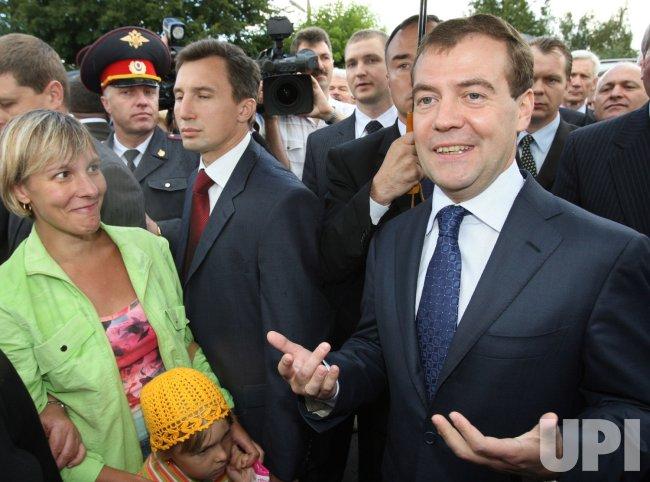 Russian President Medvedev visits Yuri Gagarin's museum
