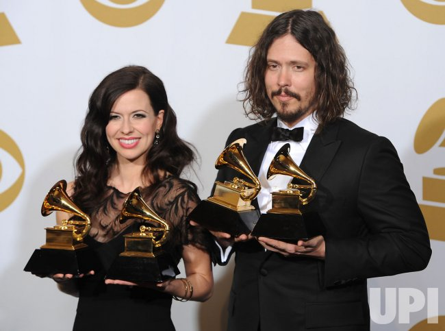 Barton Hollow Holds Grammy at the 54th annual Grammy Awards at the Staples Center in Los Angeles