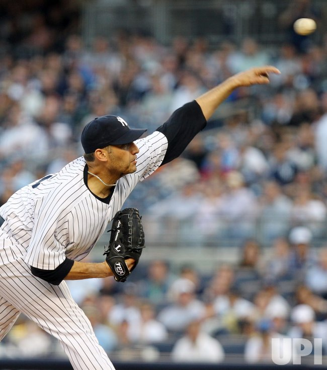 New York Yankees starting pitcher Andy Pettitte throws a pitch at Yankee Stadium in New York