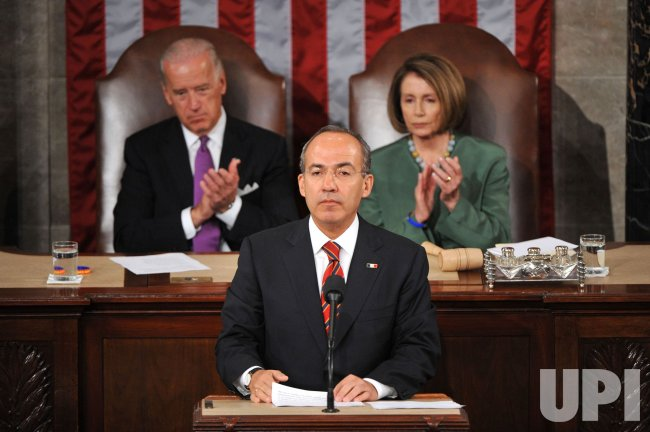 Mexican President Felipe Calderon speaks during a joint session of Congress in Washington