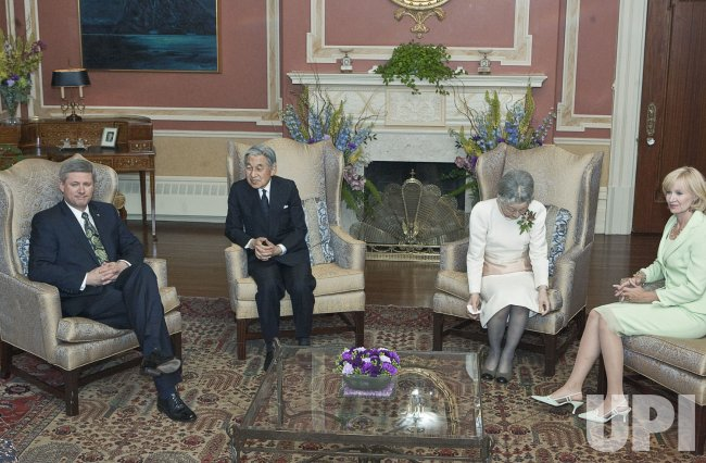Prime Minister of Canada Stephen Harper has audience with Emperor Akihito and Empress Michiko in Ottawa, Canada's capital