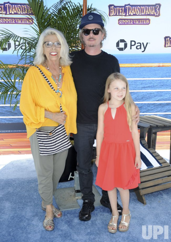 """David Spade with mother Judith M. Spade and daughter Harper Spade attend the """"Hotel Transylvania 3: Summer Vacation"""" premiere in Los Angeles"""