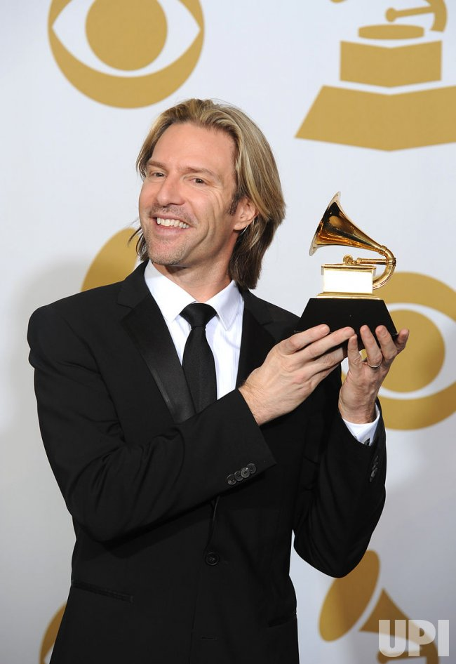 Eric Whitacre Holds Grammy at the 54th annual Grammy Awards at the Staples Center in Los Angeles