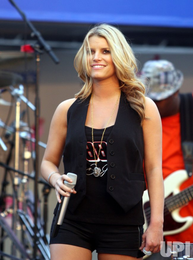 Jessica Simpson sings at NASCAR Bank of America 500 race at Lowe's Motor Speedway in Concord, North Carolina