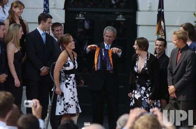 U.S. PRESIDENT BUSH CONGRATULATES NCAA CHAMPIONSHIP TEAMS IN WASHINGTON