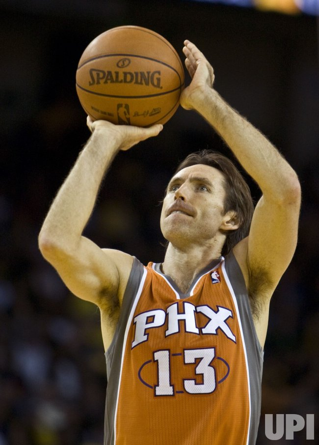 Phoenix Suns Steve Nash takes a free throw against the Golden State Warriors in Oakland, California