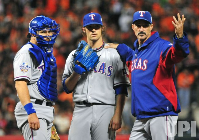 Rangers' pitcher C. J. Wilson is taken out of game 2 of the World Series in San Francisco