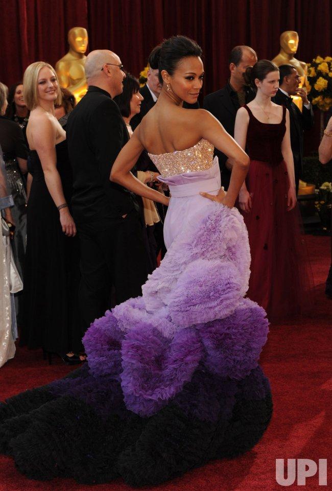 Zoe Saldana arrives at the Academy Awards in Hollywood