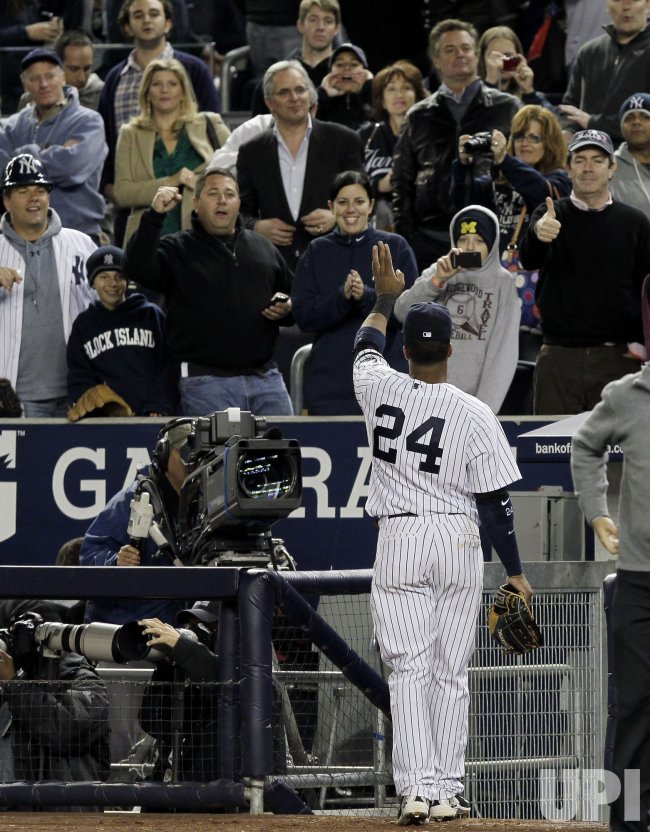 New York Yankees Robinson Cano reacts in Game 3 of the 2010 ALDS at Yankee Stadium in New York