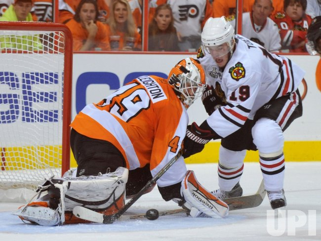 Flyers goalie Michael Leighton stops a shot during the 2010 Stanley Cup Final