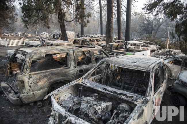 Burned cars in Paradise