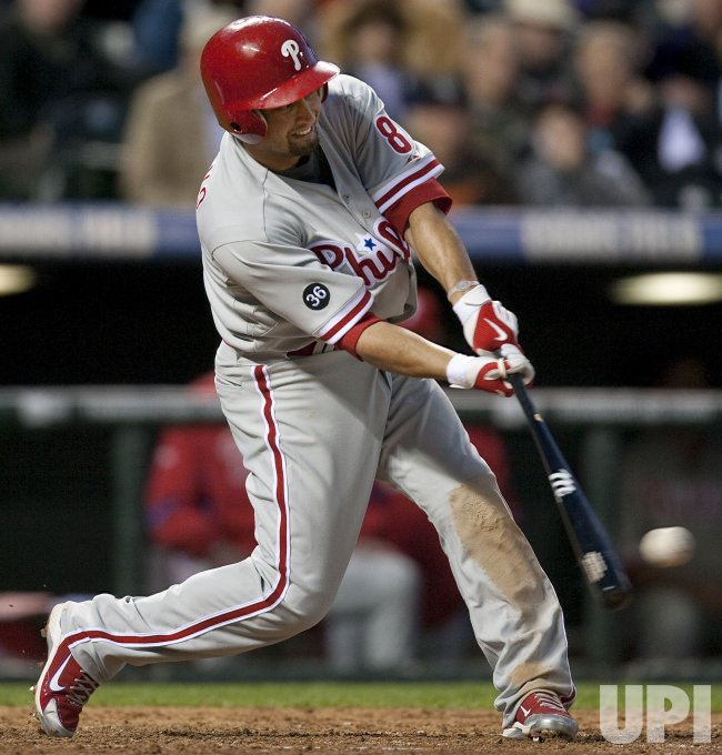 Phillies Victorino Bats Against the Rockies in Denver