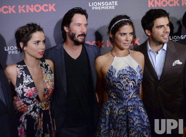Ana De Armas Lorenza Izzo Knock Knock 2015 Stock Photo: Ana De Armas, Keanu Reeves And Lorenza Izzo Attend The