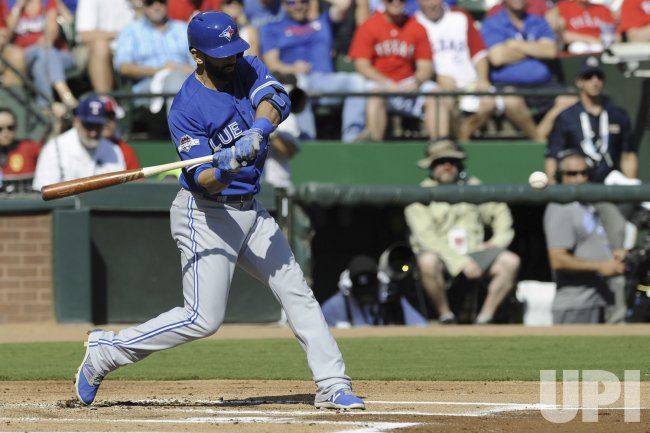Toronto Blue Jays' Jose Bautista at bat against the Texas Rangers