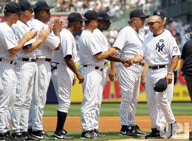New York Yankees legend Reggie Jackson is introduced at Yankees Stadium in New York