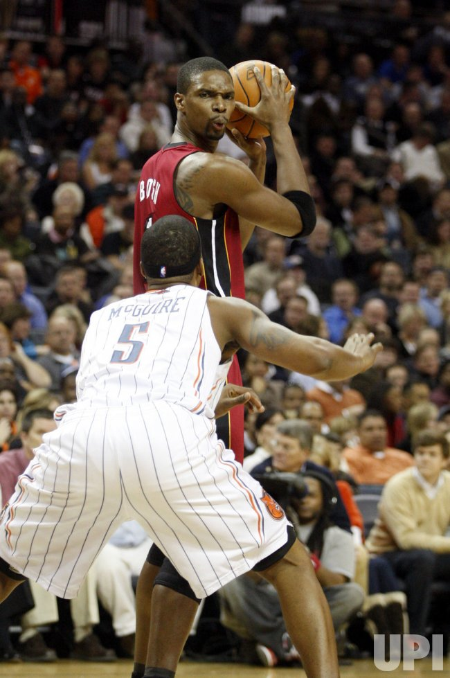 Miami Heat's Chris Bosh against the Charlotte Bobcats
