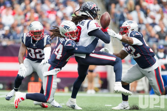 Patriots Gilmore and Roberts break up pass intended for Texans Hopkins
