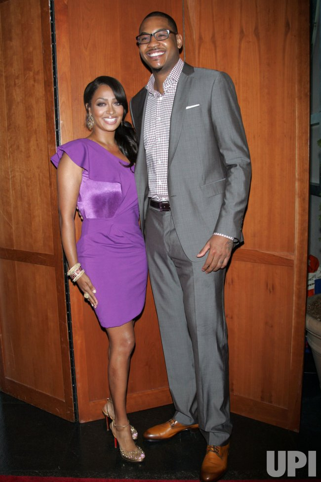 "Carmelo Anthony and wife LaLa Vasquez Anthony arrive for the Fresh Air Fund ""Salute to American Heroes"" in New York"