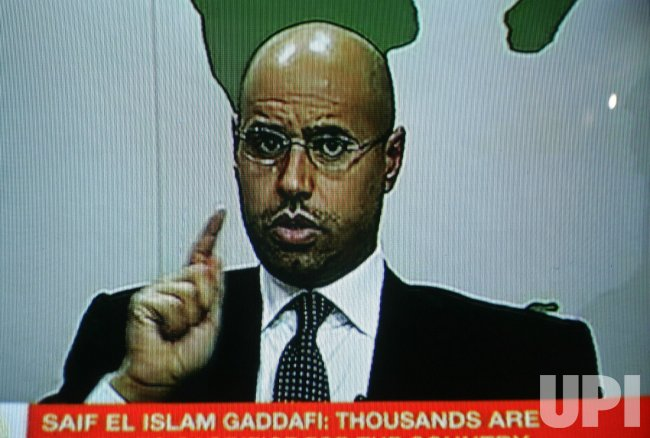 Saif Al-Islam, son leader of Libyan Moammer Gadhafi, speaks to the Nation
