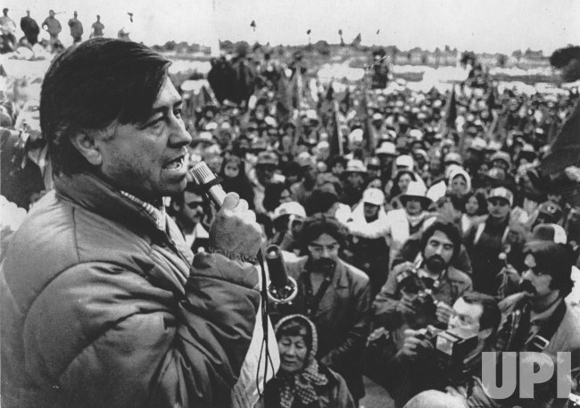 United Farm Workers (UFW) President Cesar Chavez leads lettuce boycott in Claexico, CA