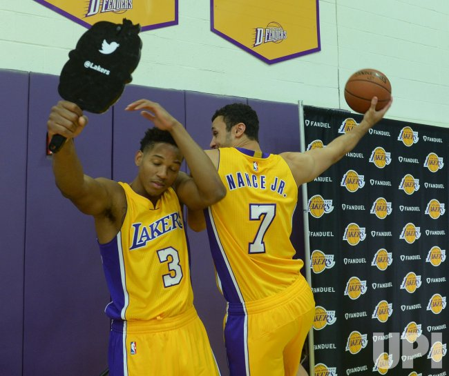 Anthony Brown and Larry Nance Jr participate in Lakers media day