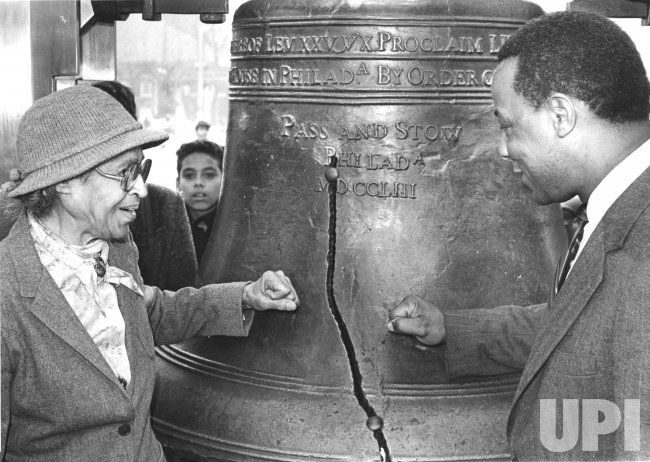 Rosa Parks strikes Liberty bell in Philadelphia on MLK Day