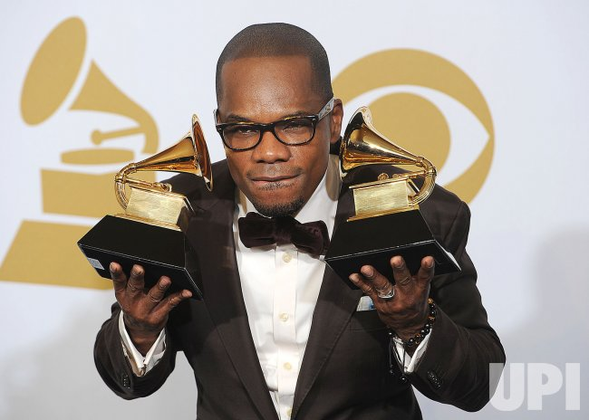Kirk Franklin holds Best Gospel album Grammys at the 54th annual Grammy Awards at the Staples Center in Los Angeles