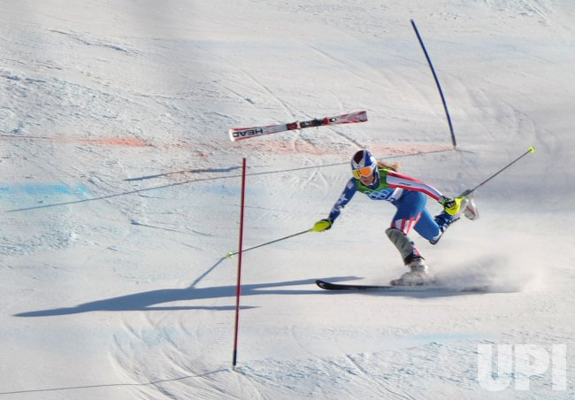 USA's Lindsey Vonn falls during the Ladies' Combined in Whistler