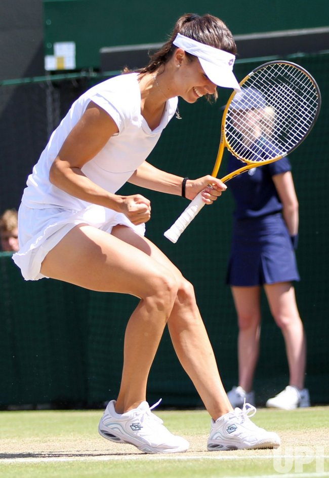 Pironkova celebrates her win over Venus Williams at the Wimbledon Championships