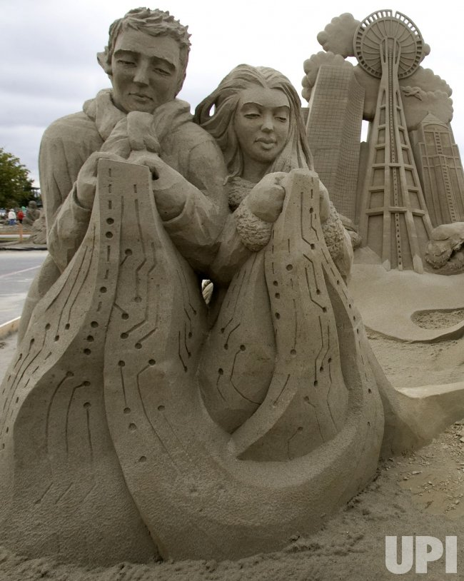 """The Sandboxers"" sculptured by a combined Canadian and United States team, placed 3rd in the Teams Competition at the World Champion Sand Sculpture Championships held in Federal Way, Washington."
