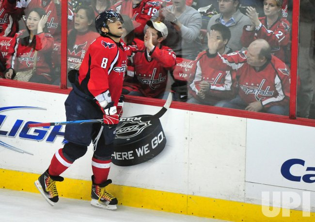 Capitals' Alex Ovechkin reacts in Washington