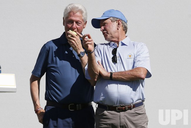 Bill Clinton George Bush Presidents Cup at Liberty National GC in NJ