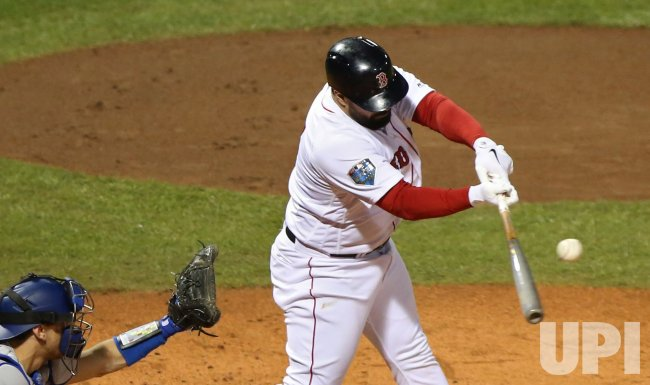 Red Sox's Sandy Leon singles during World Series Game 1