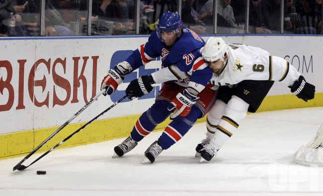 New York Rangers Christopher Higgins and Dallas Stars Trevor Daley at Madison Square Garden