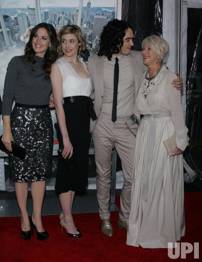 "Jennifer Garner, Greta Gerwig, Russell Brand and Helen Mirren arrive for the ""Arthur"" Premiere in New York"