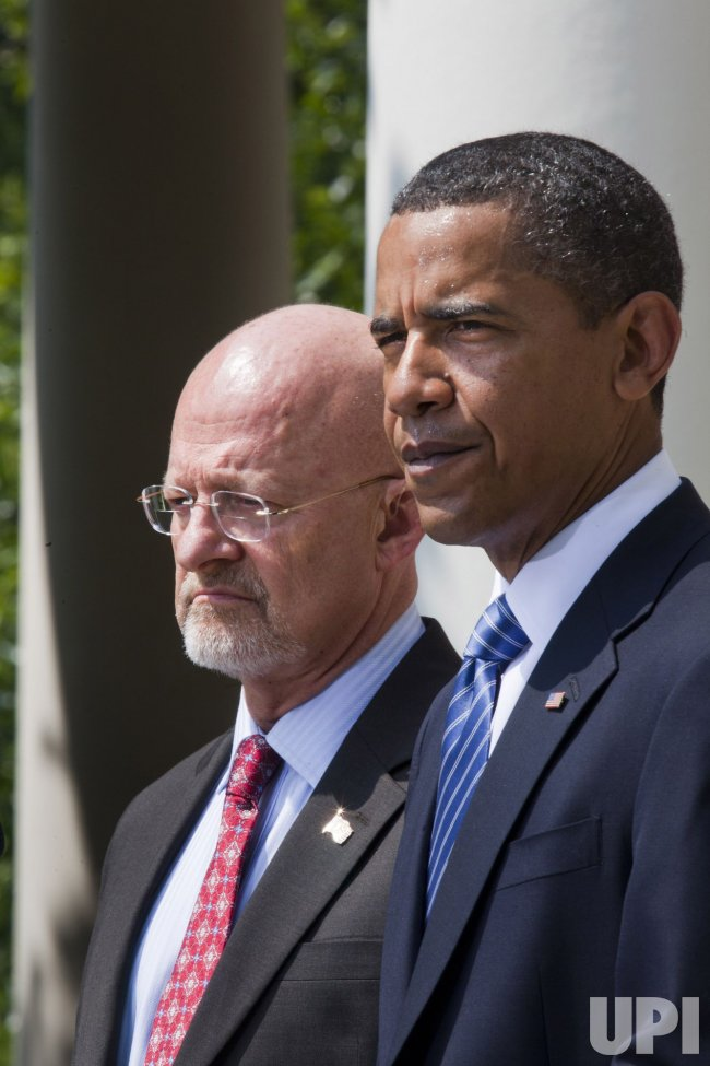 U.S. President Obama speaks about Director of National Intelligence nominee Gen. James Clapper in Washington